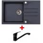 Alveus SET kuchynský drez ROCK 130 so sifónom + batéria AM 30/RAPA NUI - farba čierna