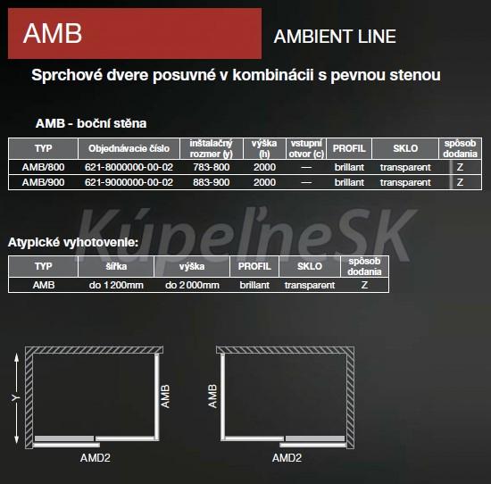 a113f0b7859cc Roltechnik AMB 80x200cm samotná bočná sprchová stena k dverám AMD2, Brillant,zrkadlo  ...