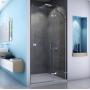 SanSwiss ESCURA ES13 Sprchové dvere s pevn.st., 90x200cm, Pravé, ALUchróm, sklo Číre